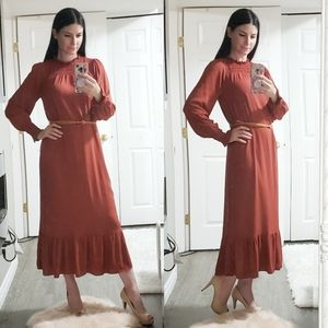 Zara Prairie Cottagecore Maxi Dress S Ruffled